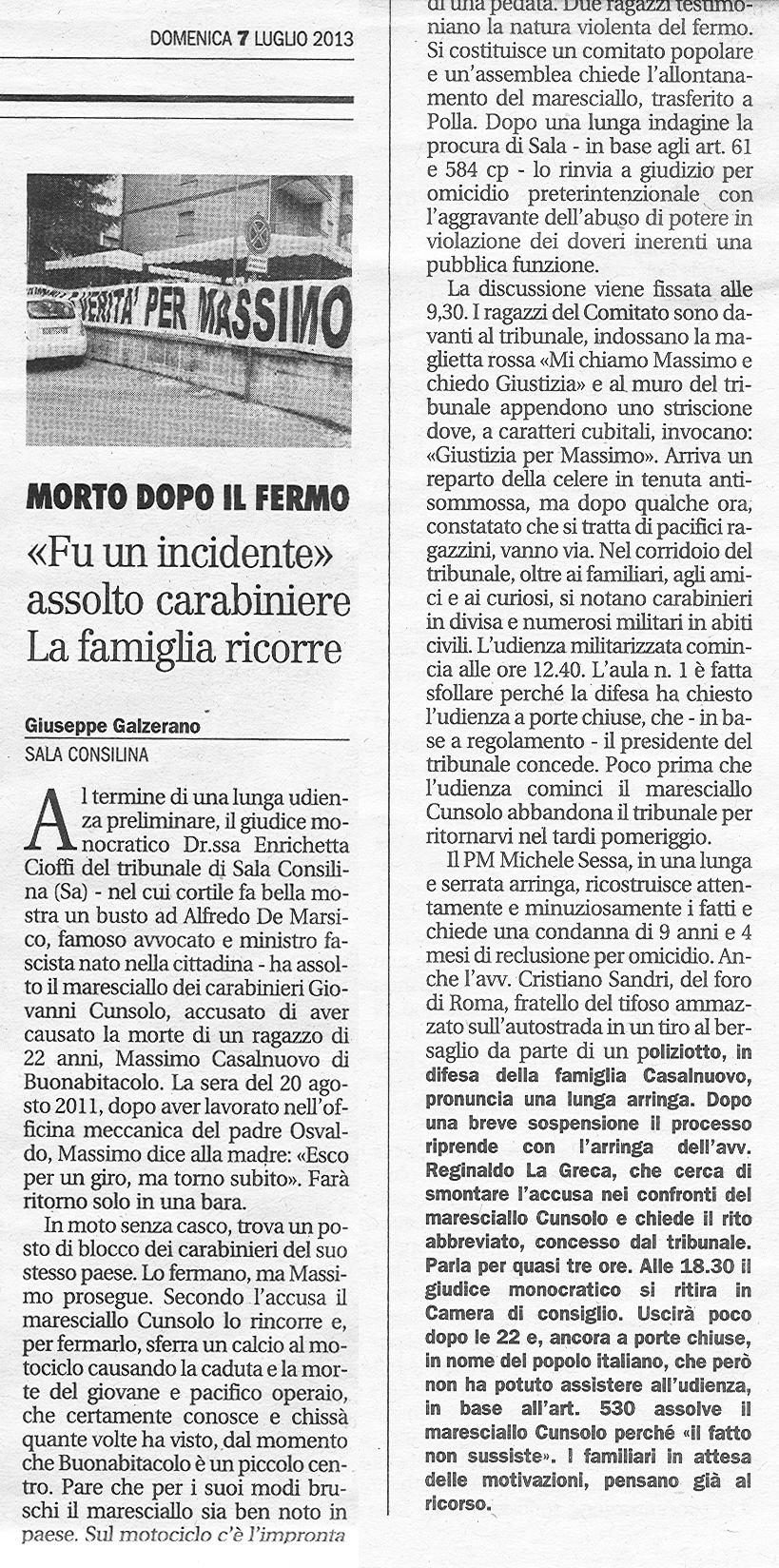 """""""FU UN INCIDENTE"""" ASSOLTO CARABINIERE. LA FAMIGLIA RICORRE"""